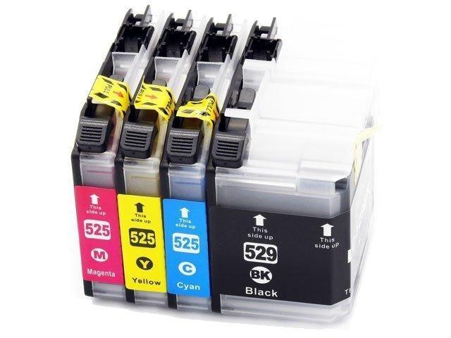 Zgodny z 1x LC529XL / 3x LC525XL Zestaw tuszy do Brother J100 J105 J200 wszystkie kolory DD-Print DD-IB529XL-525XLCMYKN